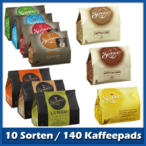 senseo kaffeepads probierpaket mit 10 sorten 137 pads. Black Bedroom Furniture Sets. Home Design Ideas
