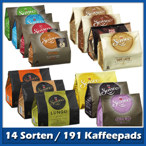 senseo kaffeepads probierpaket mit 14 sorten 188 pads. Black Bedroom Furniture Sets. Home Design Ideas