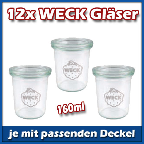 12er set weck mini sturz 160ml gl ser mit deckel glas einmachgl ser einmachglas ebay. Black Bedroom Furniture Sets. Home Design Ideas