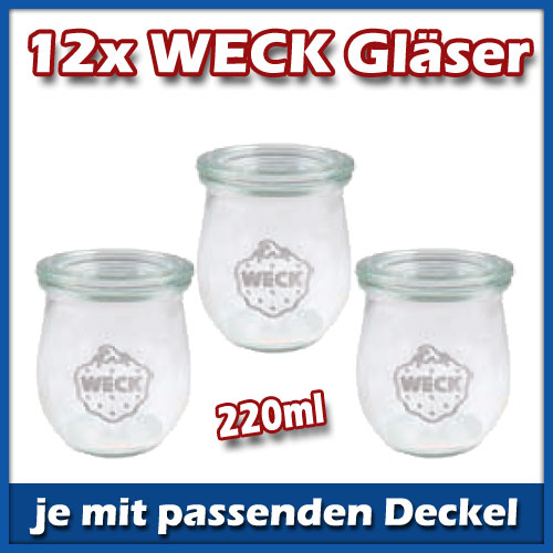 12er set weck mini tulpe 220ml gl ser mit deckel glas einmachgl ser einmachglas ebay. Black Bedroom Furniture Sets. Home Design Ideas